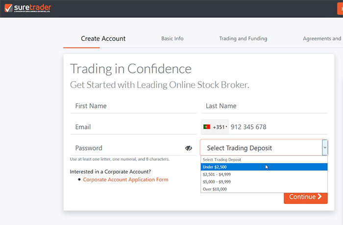 Como abrir conta na Sure Trader
