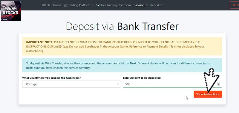 Como depositar dinheiro na SureTrader usando Transferência Bancária