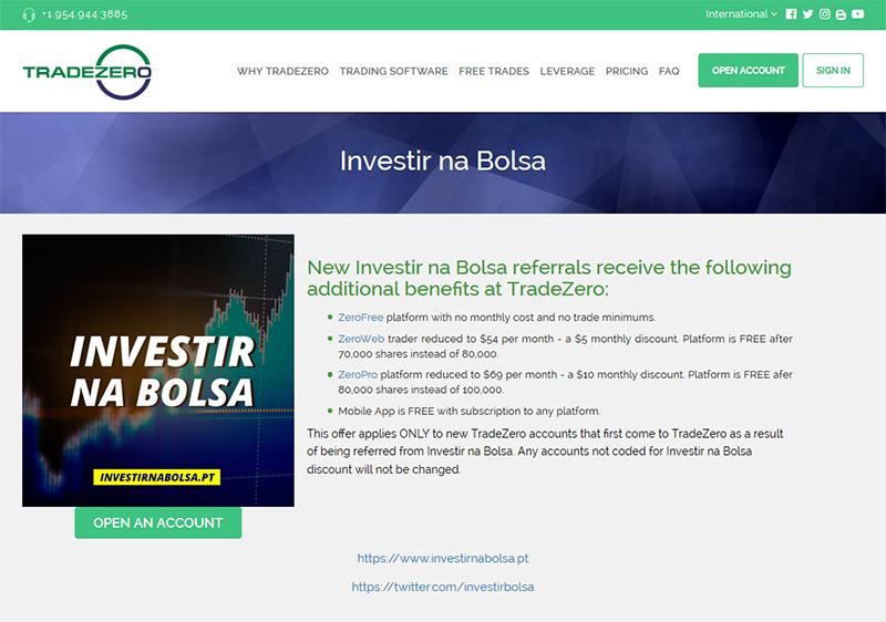 Desconto na TradeZero para leitores do blog Penny Stocks e Investir na Bolsa