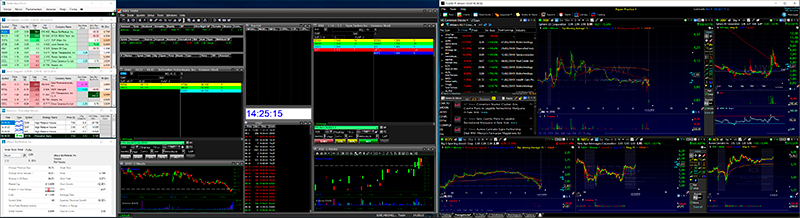 Monitor de um Day Trader com o TC2000, Suretrader Desktop e o Trade-Ideas Pro aberto