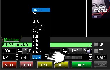 Duração da Ordem Limitada na plataforma Sure Trader Desktop da SURETRADER
