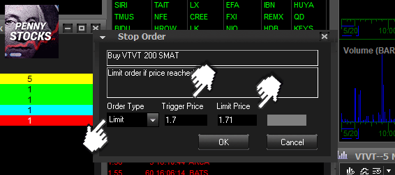 Ordem Stop Limitada na plataforma Suretrader Desktop