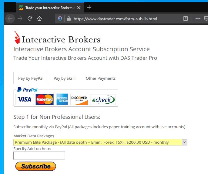 Taxa mensal para usar o DAS Trader Pro na conta Interactive Brokers