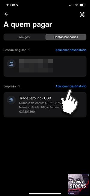 Como depositar dinheiro na conta TRADEZERO usando a app Revolut