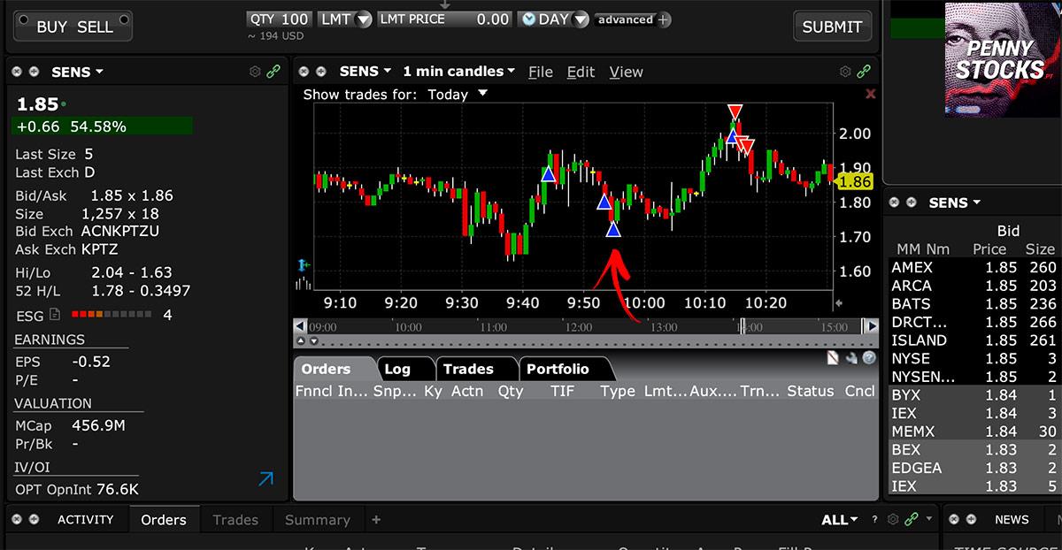 gráfico na plataforma Interactive Brokers